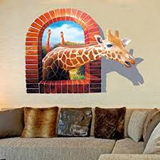 Small Picture Amazoncom Blazers 18 Wall Decal 3d Cartoon Giraffe Removable