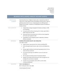 Business Intelligence Analyst Resume Publish Concept Fair It