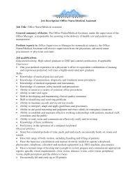 Job Description Office Nurse Medical Assistant