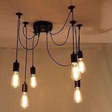 lemonbestreg 6 head e27 vintage diy ceiling chandelier light fixtures antique adjule flush mount pendant