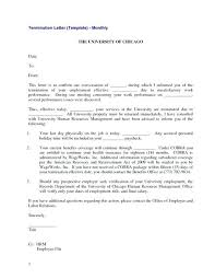 Employment Termination Letter Templates Free Sample Example ...