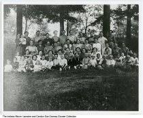 """Search: Collection Order << < > >> Record Image Family reunion, Phlox,  Indiana, 1918 Description: The description of this photo on a separate  sheet of paper is """"Happy go lucky women in Phlox Community."""" The reunion  took place at 400 North and 1100 ..."""