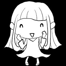 ちょっとぶりっ子気味のポーズで喜ぶ水玉ワンピースの女の子塗り絵