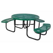 expanded metal picnic table round