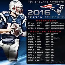 Patriots 2016 Season Schedule New England Patriots