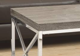 coffee table dark taupe with chrome metal
