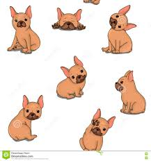 cute french bulldog clipart. Simple French Download Seamless Pattern With Cute French Bulldog On White Background  Vector Illustration Stock Clipart