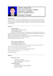Medical Technologist Resume 9 Medical Laboratory Technologist Resume