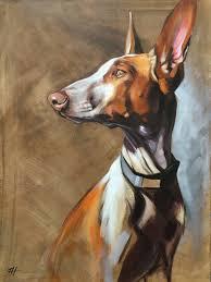 saatchi art artist aimée hoover painting podenco carnario dog portrait
