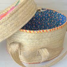 woven basket with lid. Vintage Raffia Bag, Decorative Hat Box, Woven Basket With Lid, Lid I