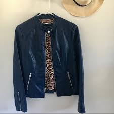 black rivet faux leather moto jacket navy blue