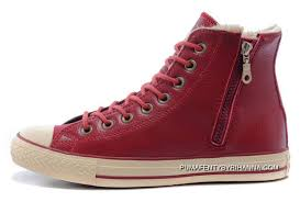 converse wine claret red leather velvet winter side zip chuck taylor all star high tops sneakers