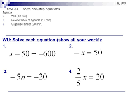 swbat solve one step equations