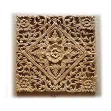 thai wood carved lotus