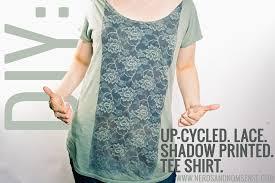 diy upcycled lace shadow printed tee shirt
