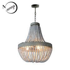 retro loft vintage rustic round wooden beads pendant lamp e27 led hanging lamp decor lights modern