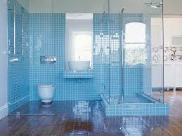 minimalist bathroom designs with blue mosaic tiles and wooden floor combination