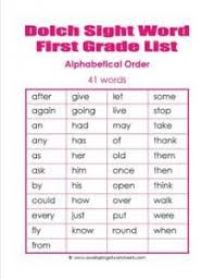Sight Word 1st Grade 1st Grade Dolch Word List Alpha Order Dolch Sight Word Lists