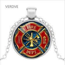 dropwow verdve firefighter symbol glass fashion pendant necklace diy handmade fire dept jewelry vintage charms trendy men women gift