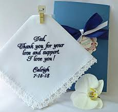 father of the bride wedding handkerchief gift for dad from the bride embroidered navy wedding hankerchief