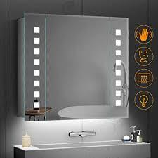 quavikey 650 x 600mm led illuminated bathroom mirror aluminum bathroom mirror cabinet rectangular lights with shaver