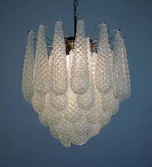 huge italian vintage murano chandelier made by 41 glass petals transpa crystal smooth outside