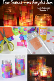 diy faux stained glass recycled jars