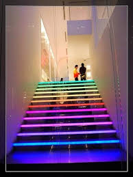 strip lighting ideas. this modern staircase that has multicoloured led strip lights built in to the edge lighting ideas t