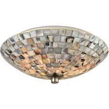 Ebay Light Fixtures Elk Lighting Cappa Shells Satin Nickel Two Light Flush Mount 10401 2