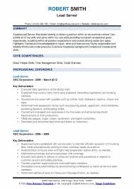 Server Experience Resume Examples Lead Server Resume Samples Qwikresume