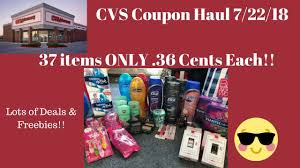 cvs coupon haul 7 22 18 amazing deals free 37 items only 36 cents each