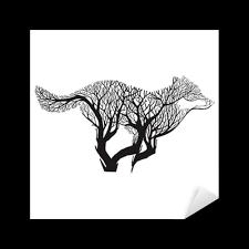 Nálepka Pixerstick Vlk Běh Silueta Double Expozice Směs Strom Kreslení Tetování Vektor Pixers žijeme Pro Změnu