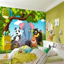 Foto Behang Custom 3d Muurschildering Woonkamer Kids Cartoon Olifant