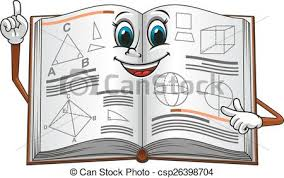 open textbook with geometric shapes cartoon character csp26398704