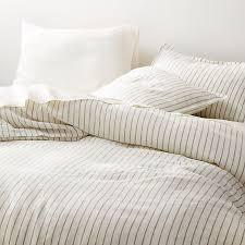 linen pinstripe warm white duvet covers