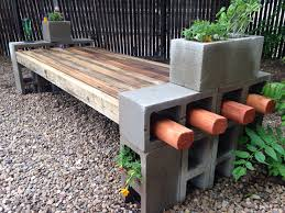 My take on the cinder block bench using repurposed fence wood