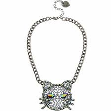 details about betsey johnson large black cat pendant necklace new nwt