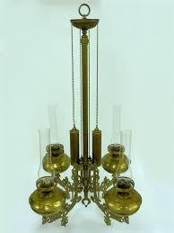 antique brass bronze victorian style oil lamp chandelier