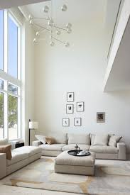 Living Room With High Ceilings Decorating Stunning Decorating Ideas Using Rectangular White Wooden Shelves