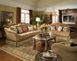 michael amini villa valencia chestnut finish wood trim tufted sofa chair set by aico