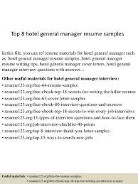 Hotel General Manager Resume Ready Screnshoots Top 8 Samples 1 638