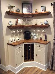 The corner breakfast nook is a great addition to a kitchen or dining room because it can add function, beauty, and it saves space. Built In Corner Coffee Wine Bar Home Decor Home Diy Home Coffee Stations