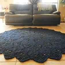 giant crochet doily rug in geometric petals design navy blue round rug large