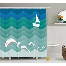 Boat Decor Accessories Adorable Nautical Decor Shower Curtain Set Nautical Theme With Paper Boat