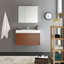 Convenience BoutiqueFresca Mezzo 36 Teak Wall Hung Modern Bathroom