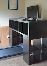 gorgeous black ikea stand up desk design with upper storage and side slots with treadmill like