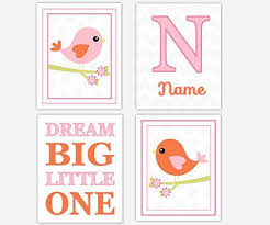 baby girl nursery decor pink orange gray birds girl room wall decor personalized name dream big