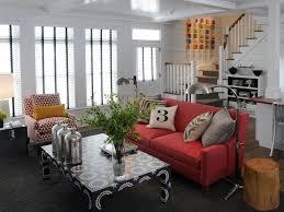 vibrant red sofas