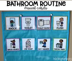 Free Printable Pocket Chart Cards Bathroom Routine Visual Cards