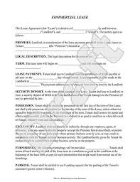 Commercial Lease Agreement Sample Commercial Lease Agreement Lease Form with Sample 1